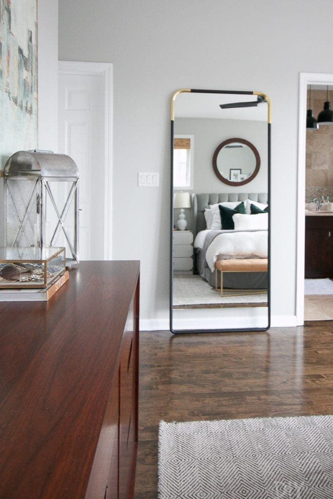 Black and brass leaning mirror from cb2
