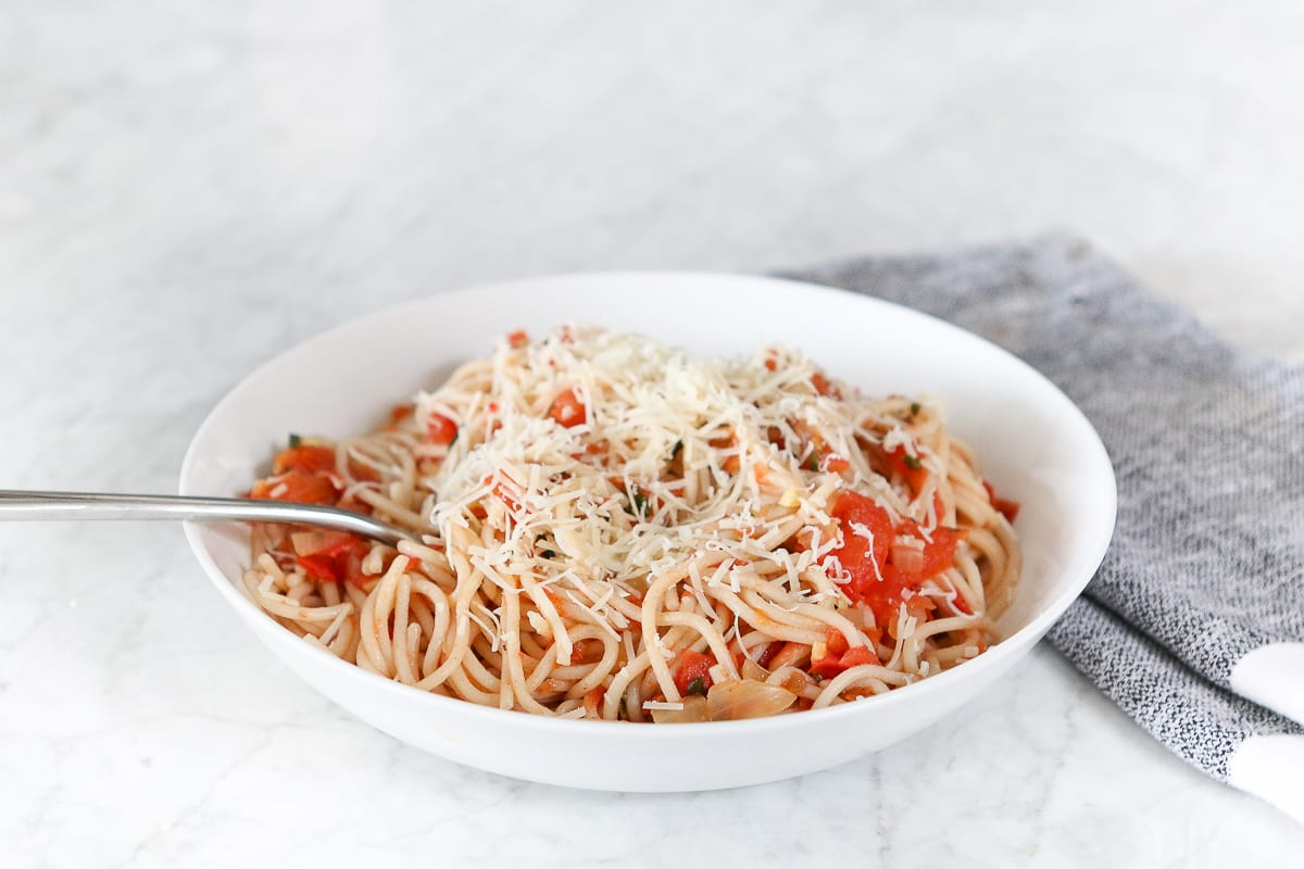 Fresh pasta recipe with grated parmesan cheese.
