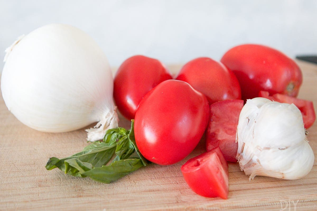 Onions, fresh plum tomatoes, garlic, and basil to create a delicious fresh pasta recipe.
