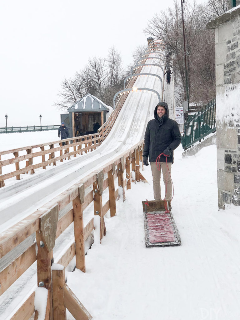 Walking up the Toboggan slide in Quebec City
