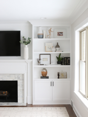 White Built-Ins Around the Fireplace: Before and After