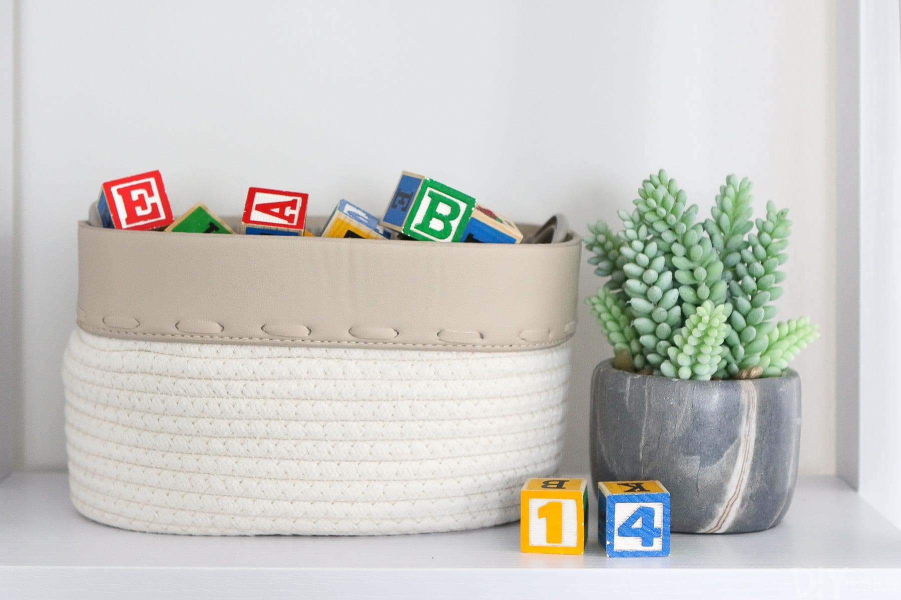 baby shelf accessories in a nursery