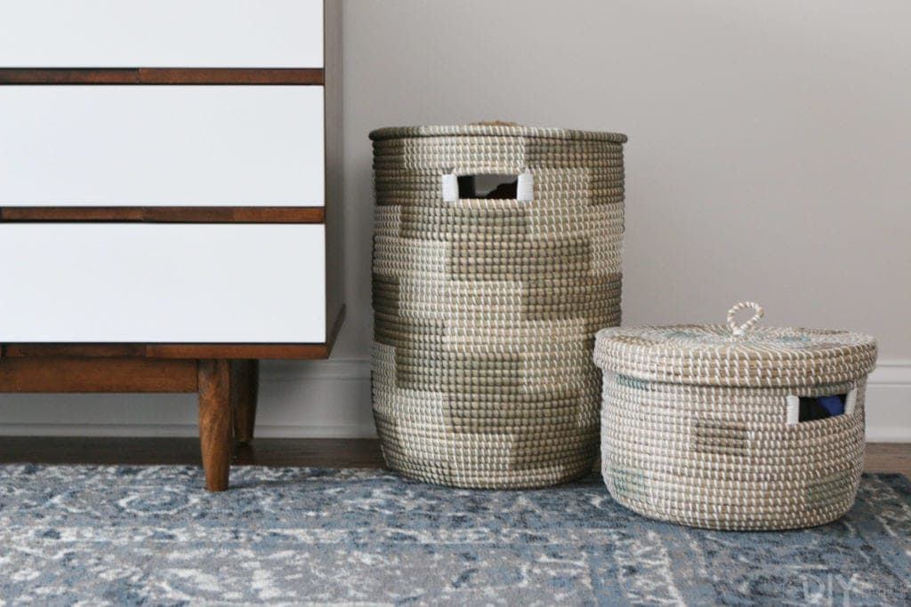Lidded baskets in a nursery for storage