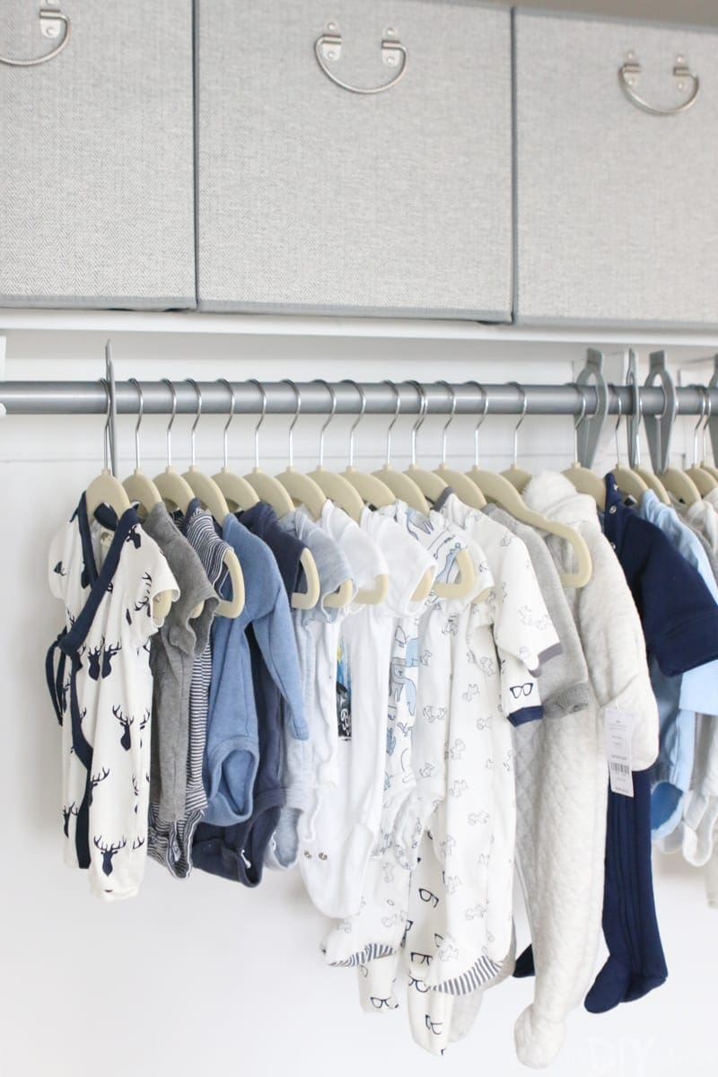 Baby nursery clothing in closet