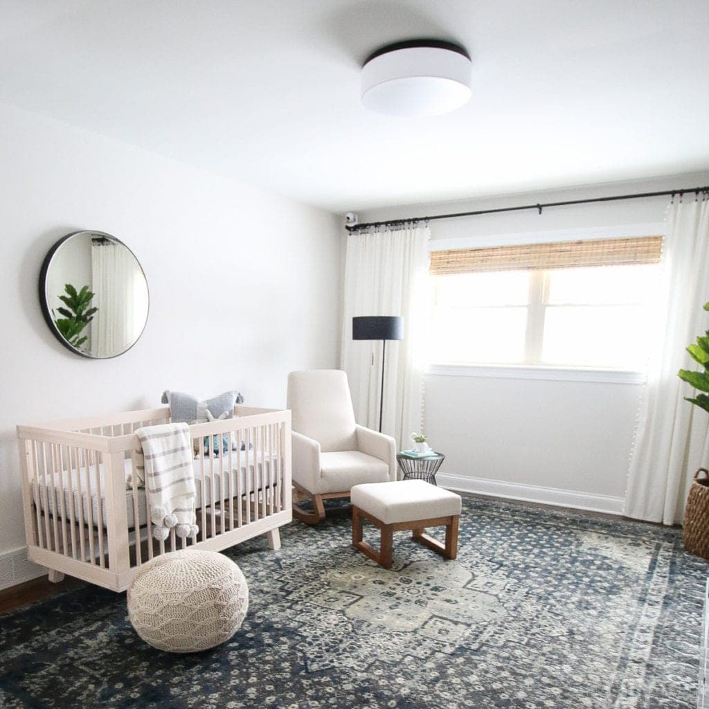 nursery with plaster ceilings and walls