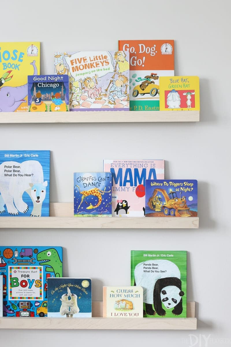 Book ledges with children's books