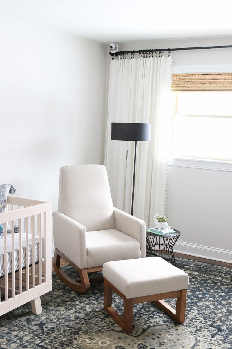 A neutral and comfortable rocker in a nursery