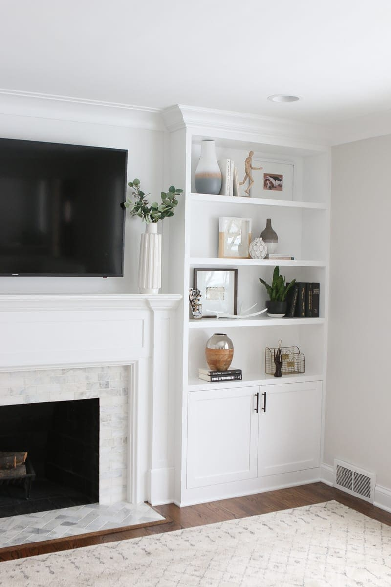 White built-ins and fireplace