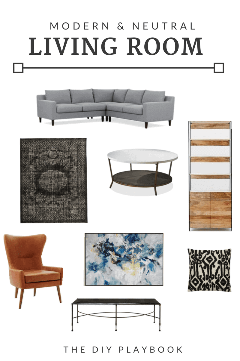 How to get the look for this modern and neutral living room space.
