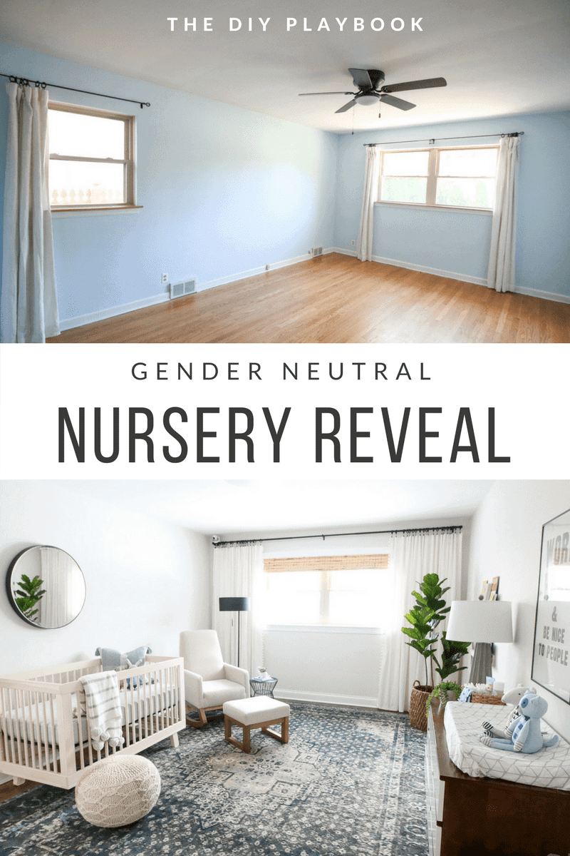 The before and after of a gender neutral nursery space.