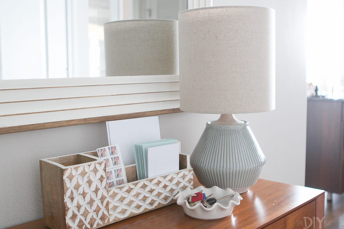 This blue lamp from West Elm is a perfect petite light for this console