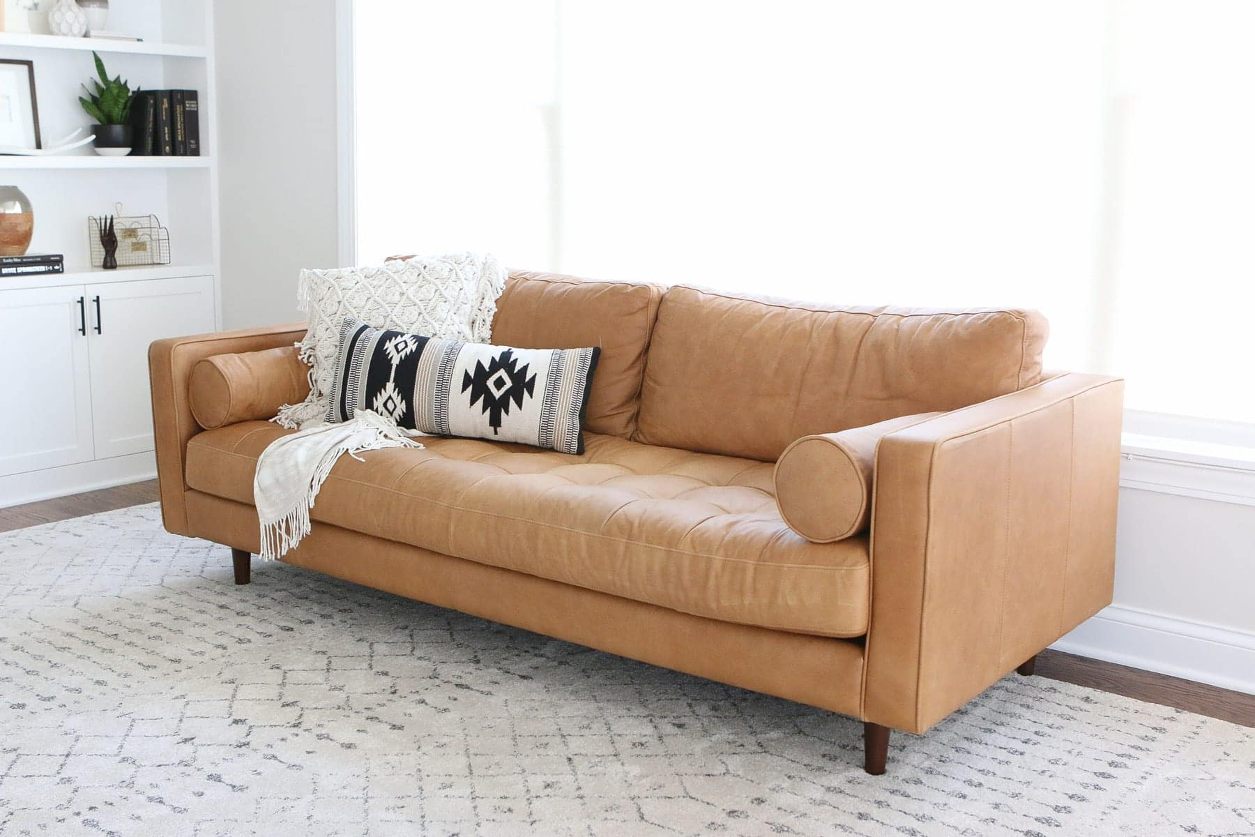 buying a brown leather couch from article