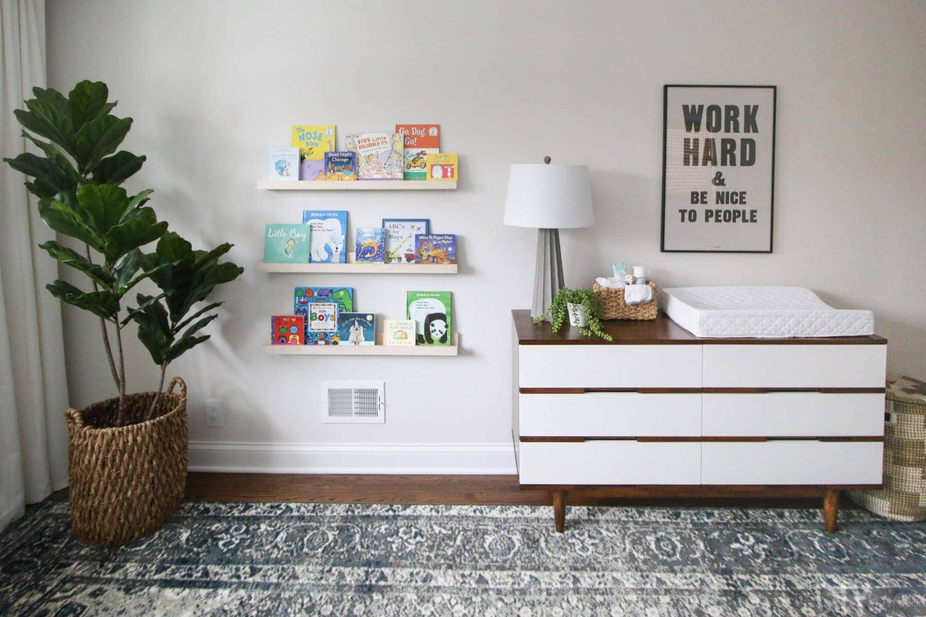 DIY book ledges for a nursery
