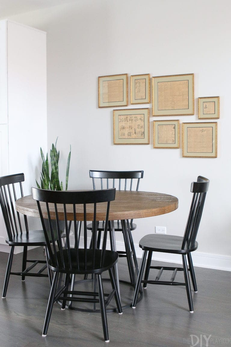 Round dining room table with 4 chairs