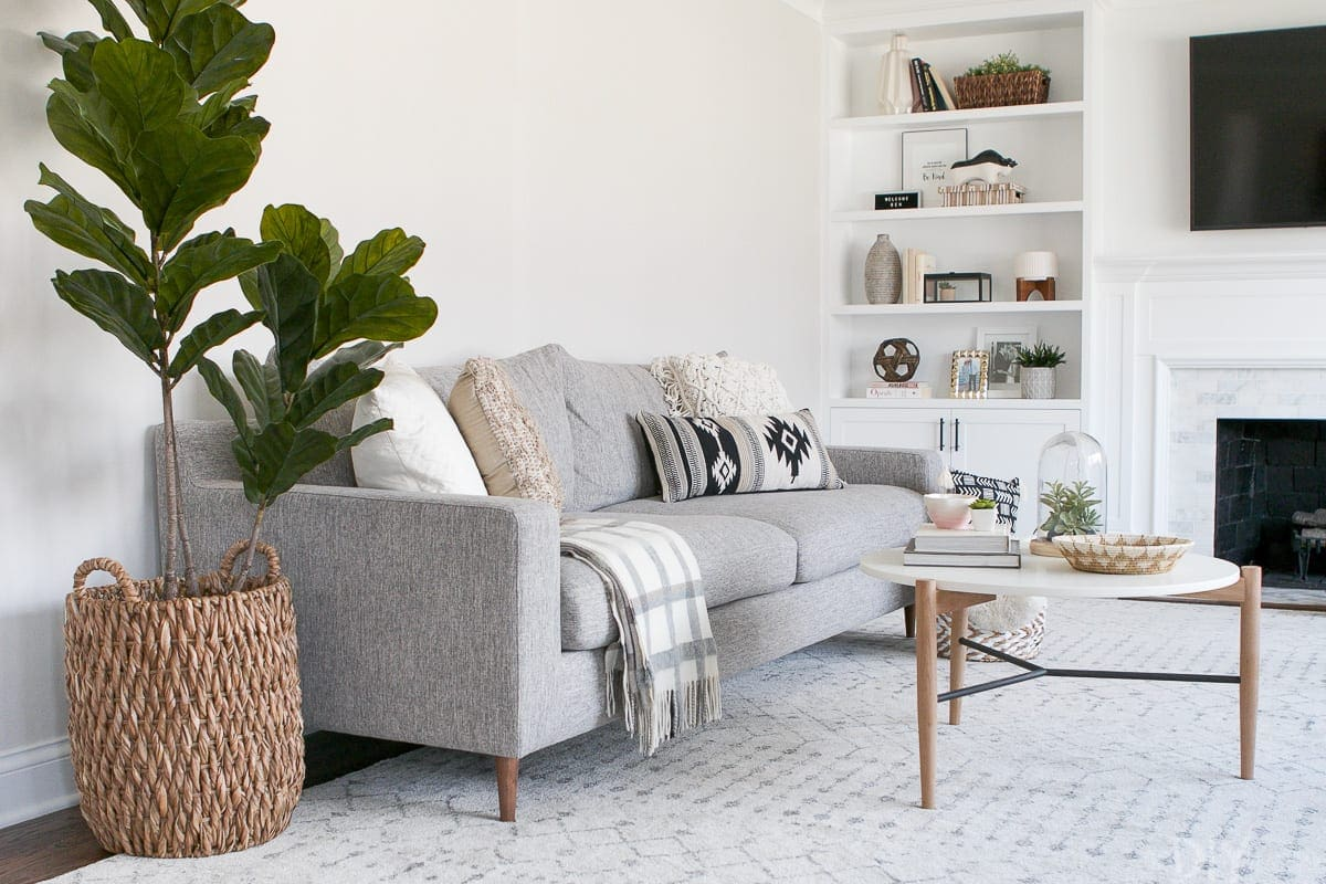 Neutral decorating on a couch