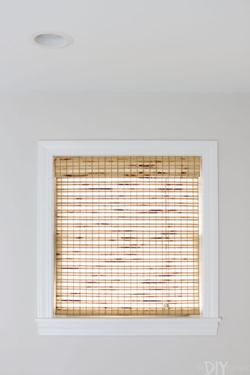 bamboo shades in a bedroom