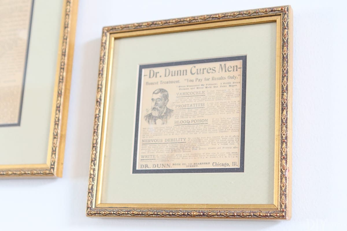 Frame old newspaper clippings from your hometown for wall art
