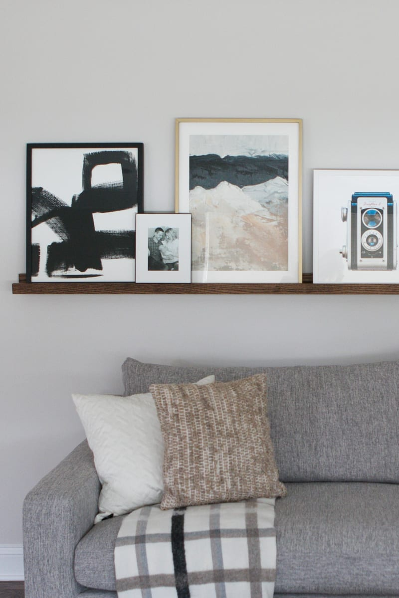 Picture ledge over a couch
