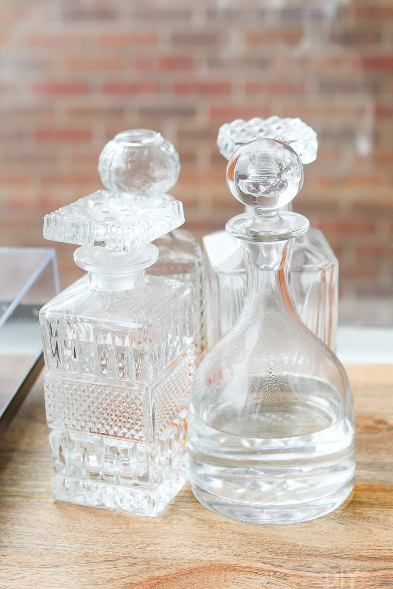 Use clear decanters on your bar area to make things look classier and more elegant