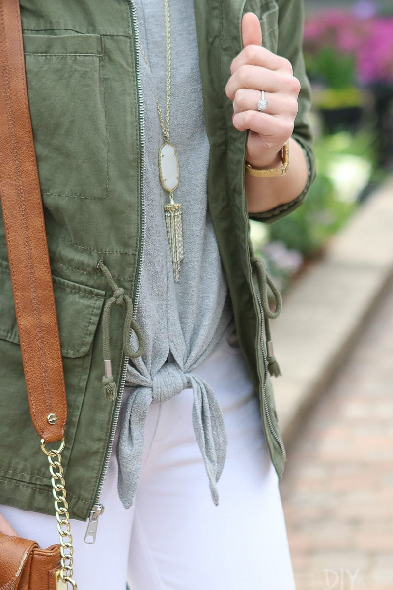 Gray tie-front top from Madewell is a good wardrobe staple.