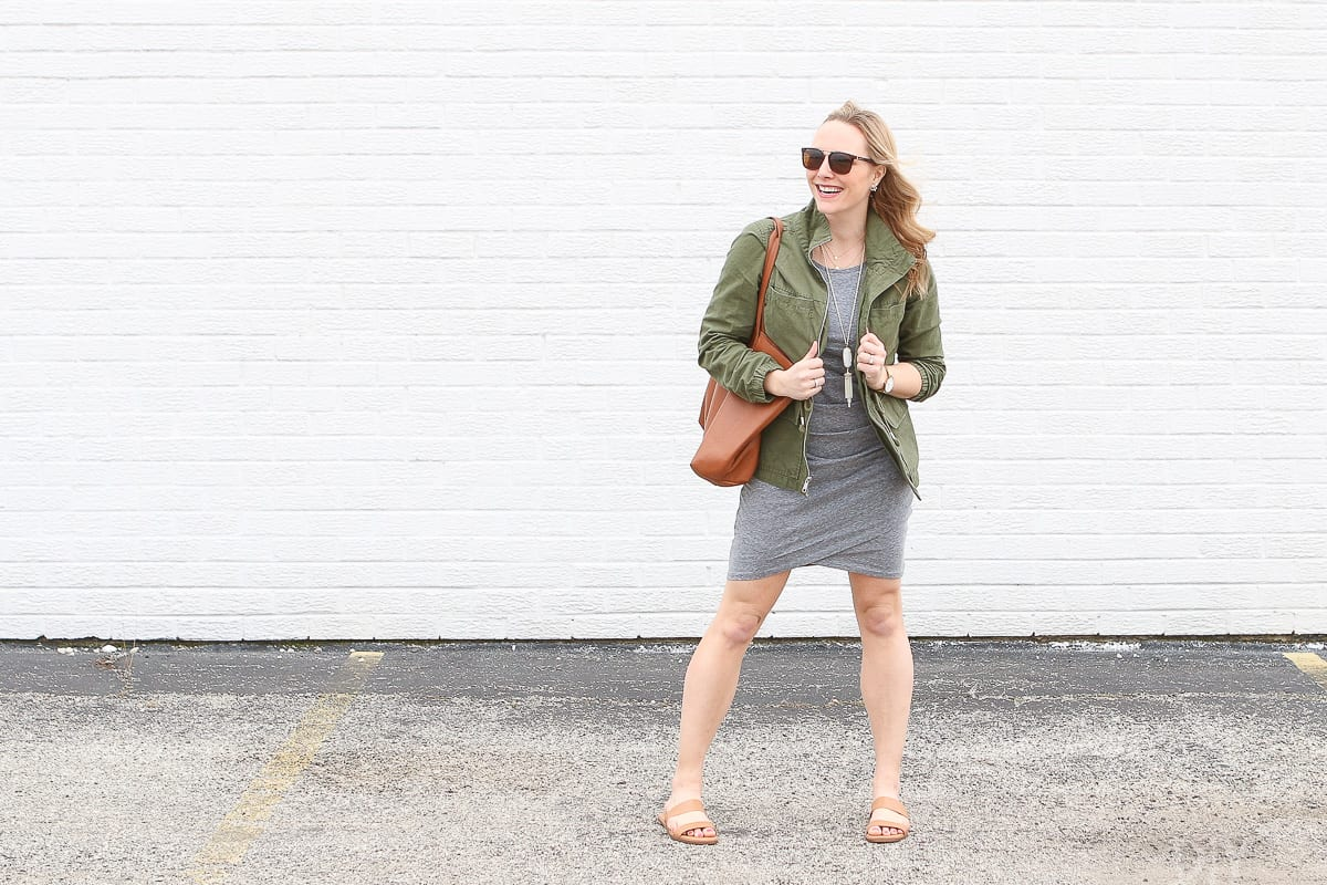 A neutral dress, utility jacket, and sandals for spring!