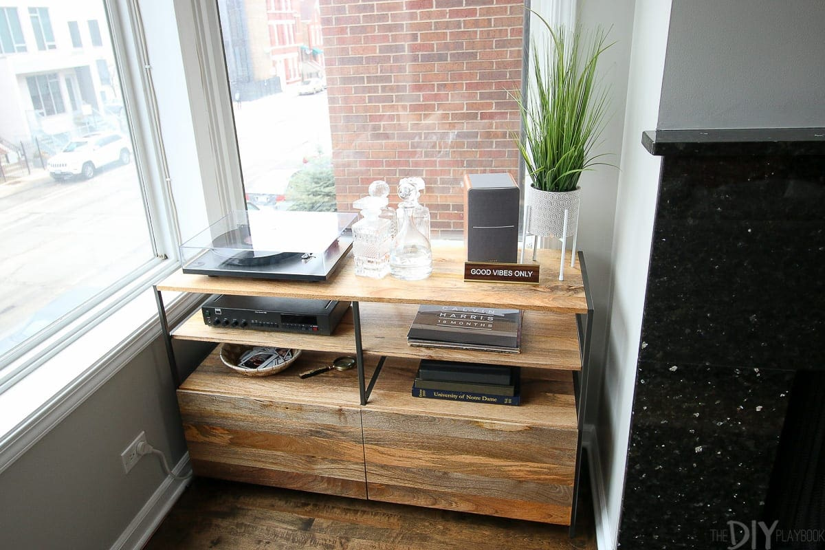 Add a record player to a small corner of your house for storage