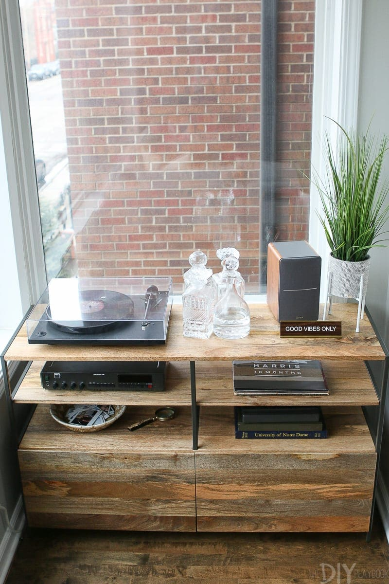 West Elm record console to hold your record player and albums