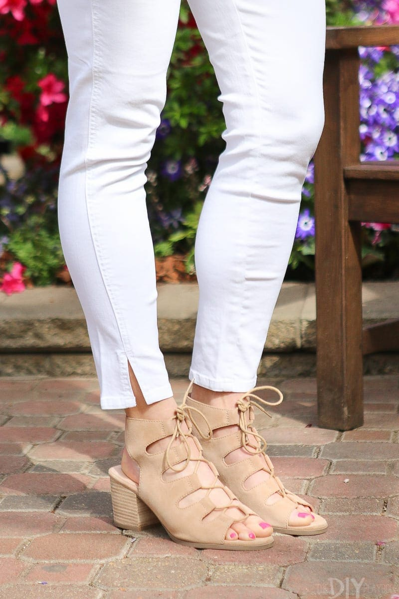 The Rae lace-up sandal from Sole Society go well with white jeans