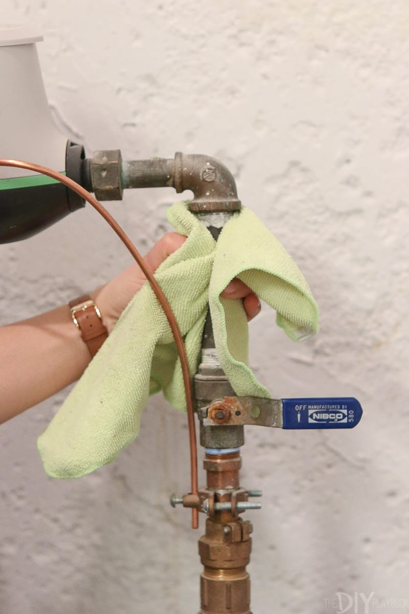 Clean off your main water supply line valve
