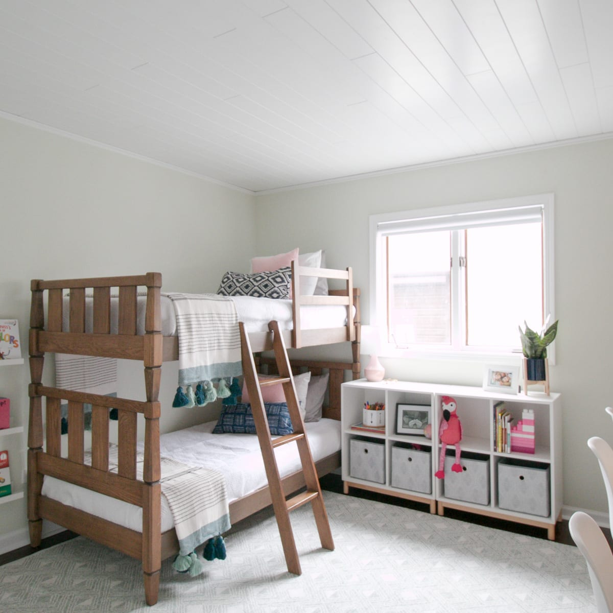 Armstrong ceilings beadboard in the bedroom