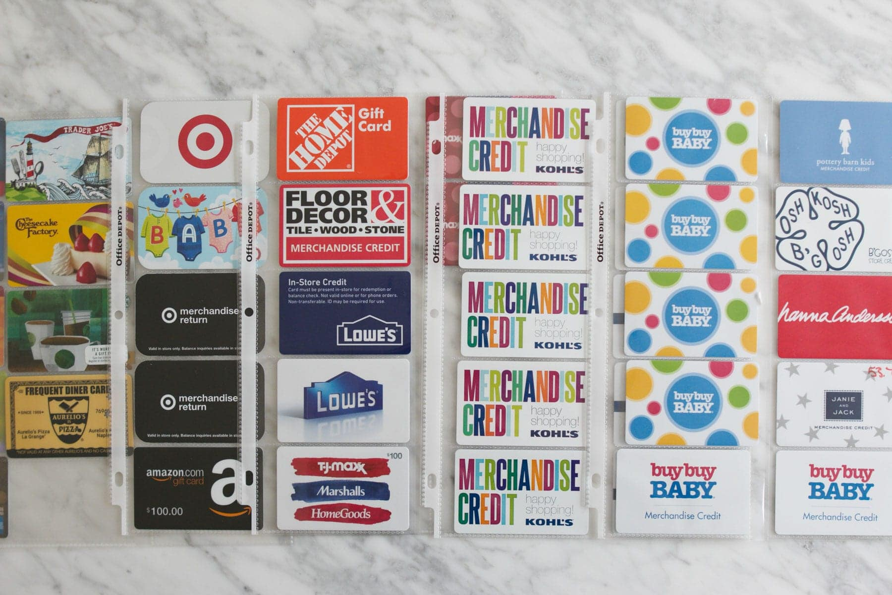 how to organize gift cards with a binder