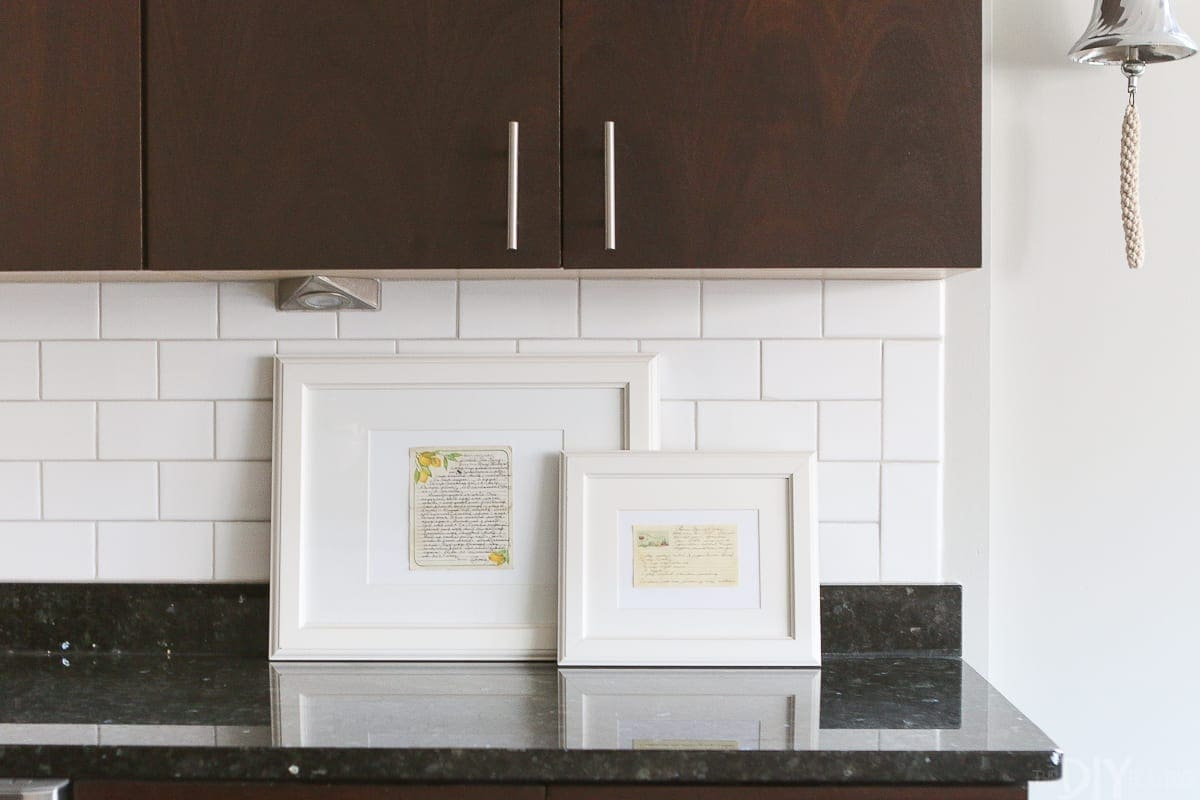 Framed recipe cards in the kitchen
