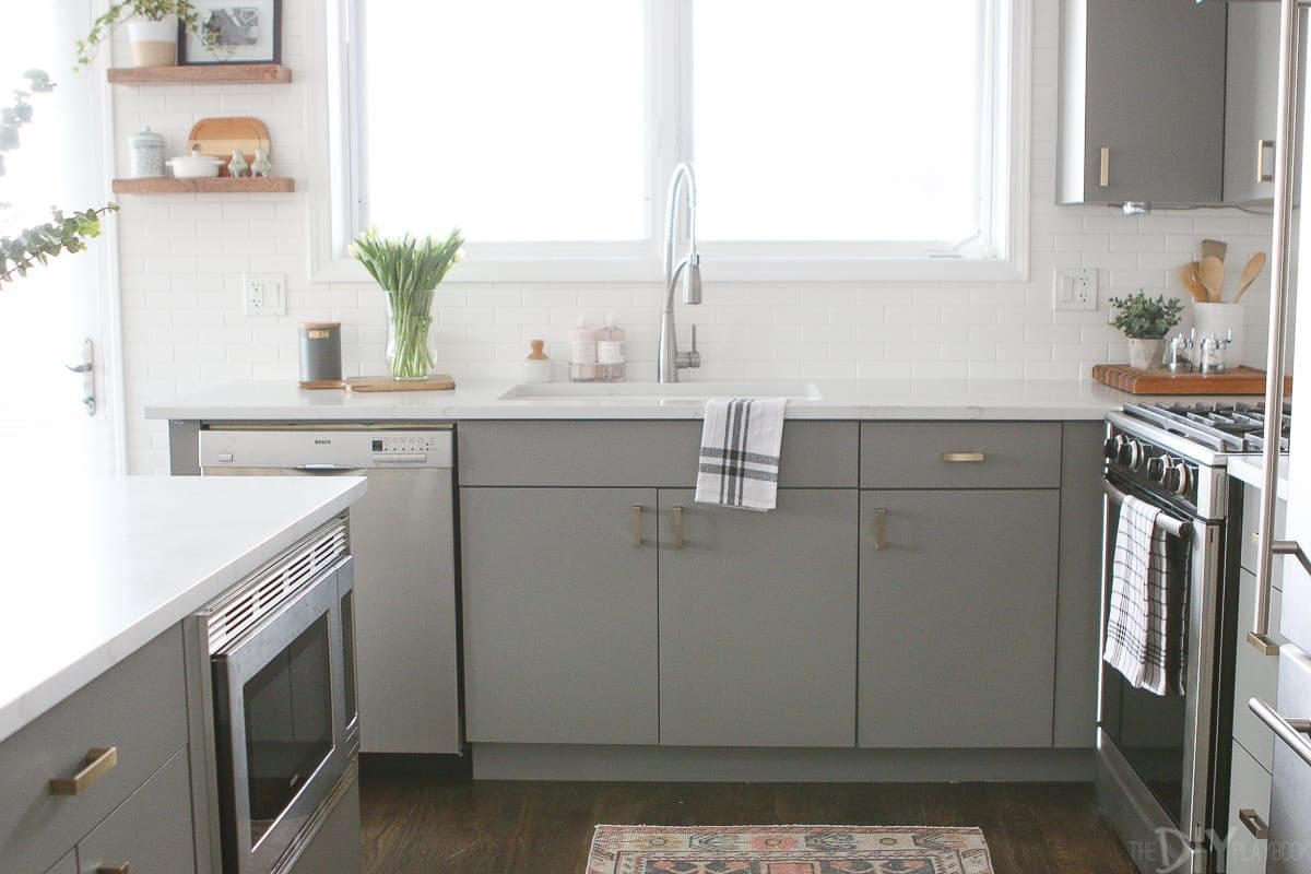 If you don't love your kitchen cabinets, you can always paint them like we did in this gray kitchen.