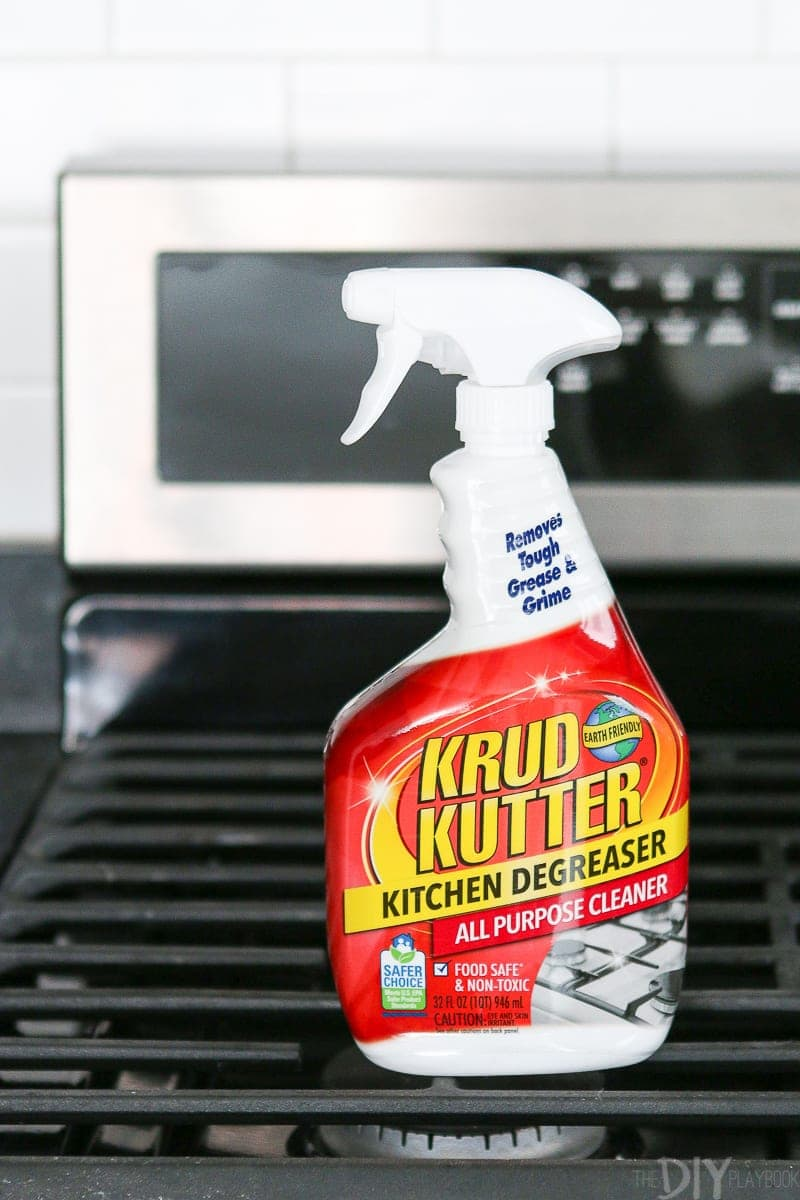 Krud Kutter Kitchen degreaser works well on tough grease and grime on the stove