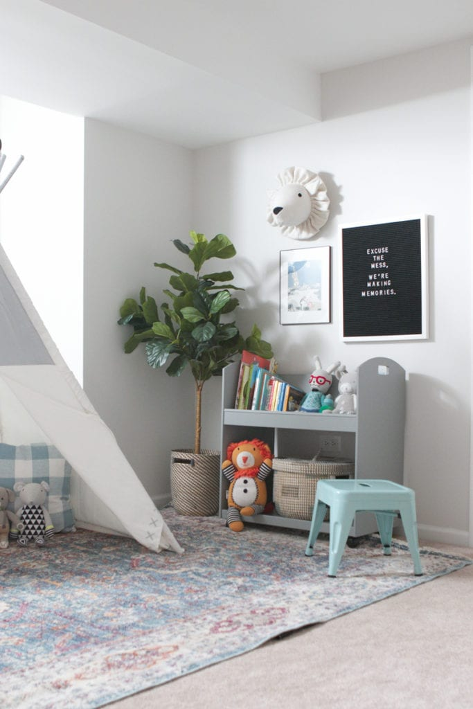 Lay down a rug to create a play area for your little ones