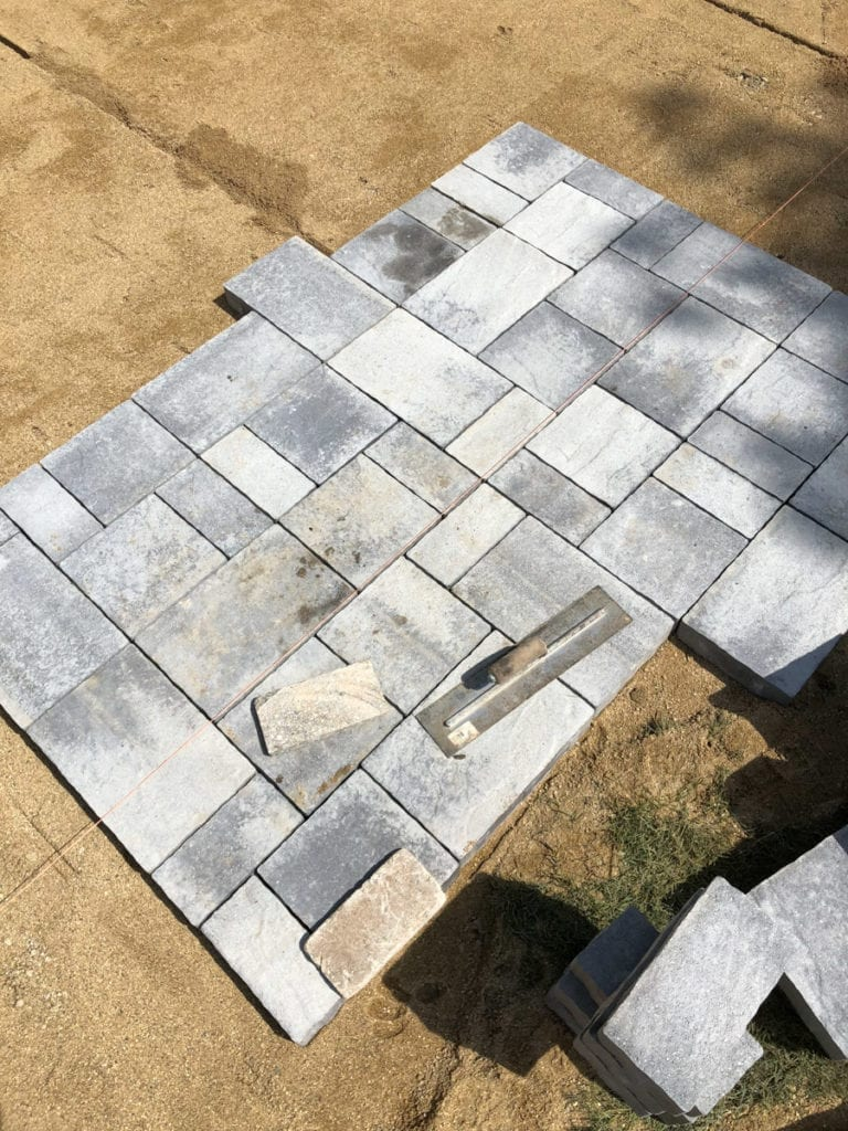 graphite landscaping bricks on a patio