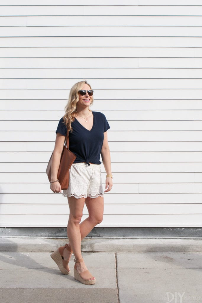 Adding lacy white shorts to our summer wardrobes