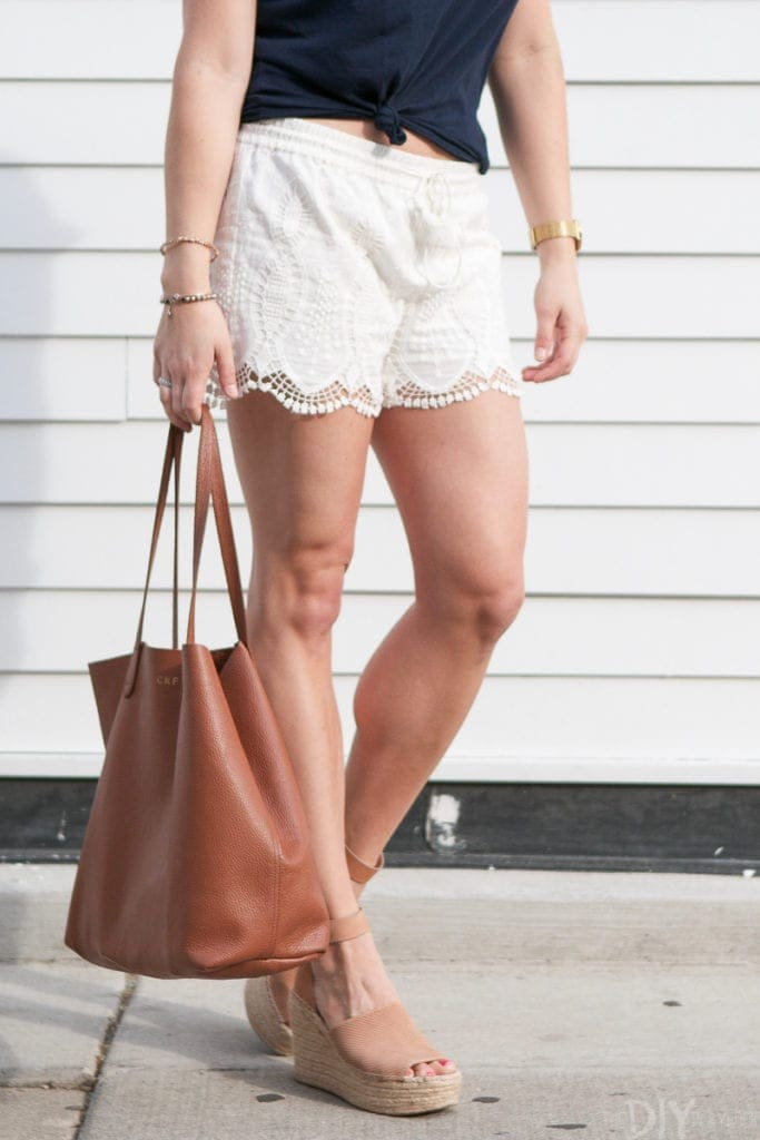 Update your summer wardrobe with lacy white shorts