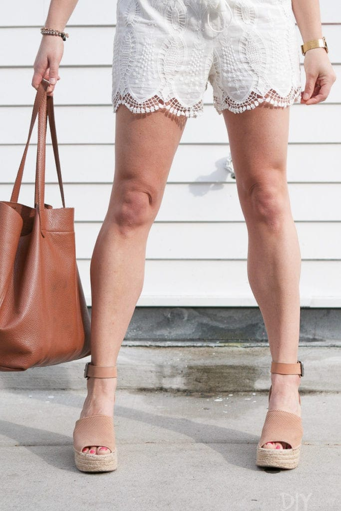 Lacy white shorts, wedges, and a cuyana bag