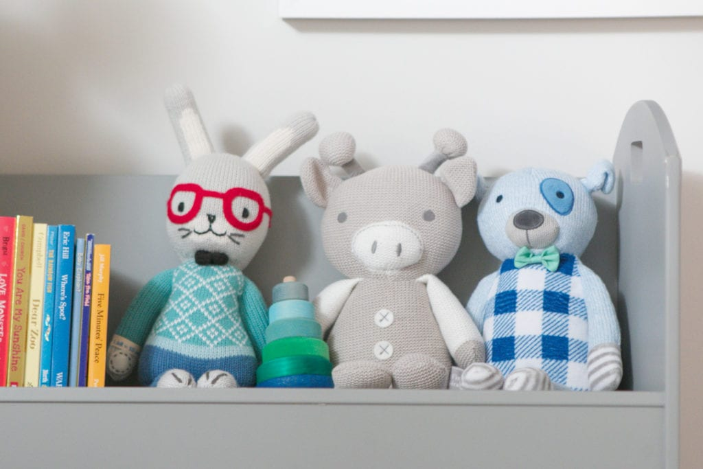 Add stuffed animals to your child's bookshelves