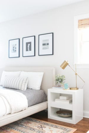 White Nightstands in B's Master Bedroom