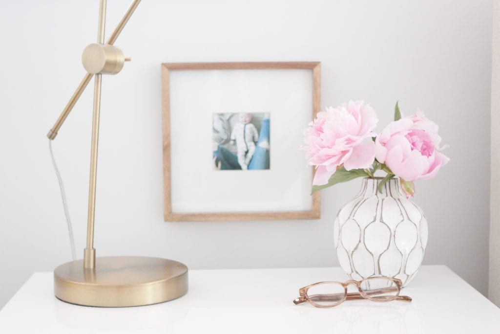 styling white nightstands with peonies