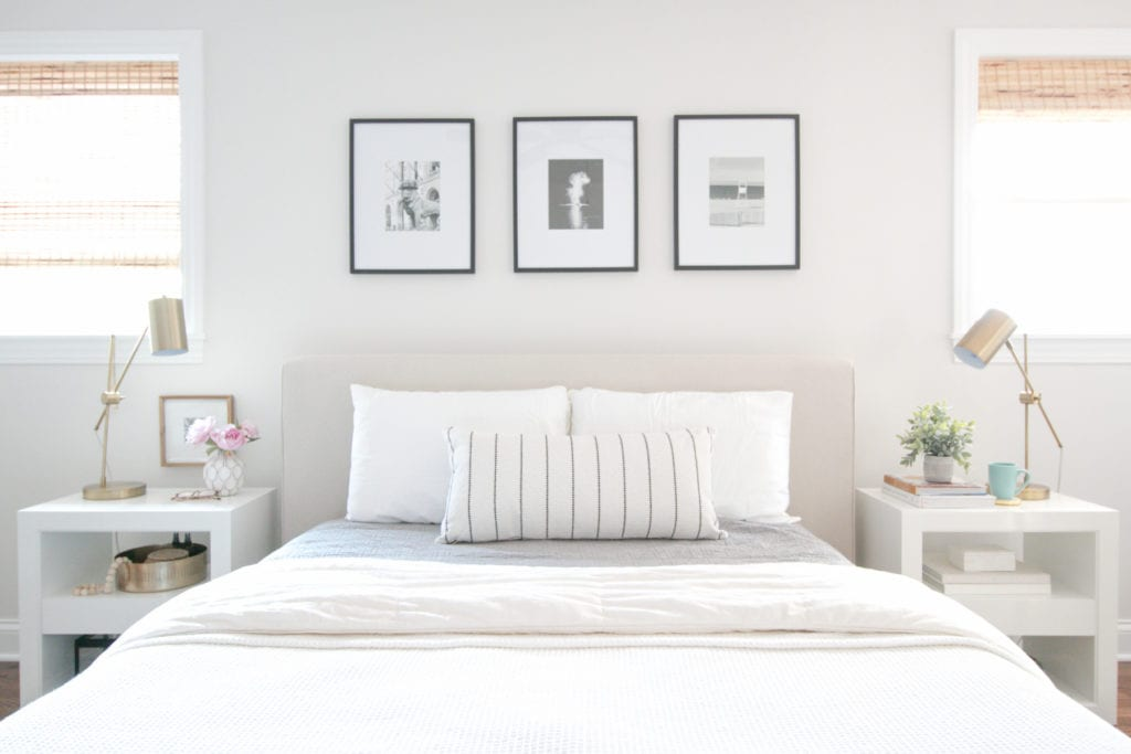 white, neutral bedroom with serena and lily nightstands
