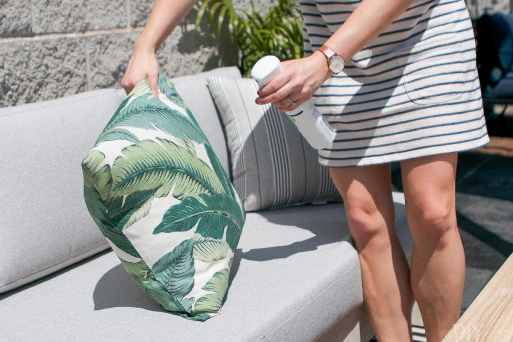 Febreze ONE eliminates odors on fabric like outdoor pillows