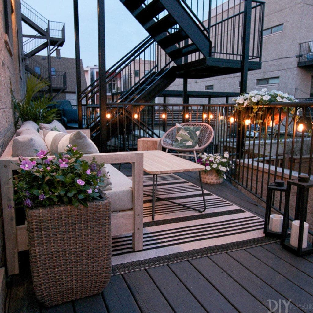 Add string lights to your outside space for perfect mood lighting