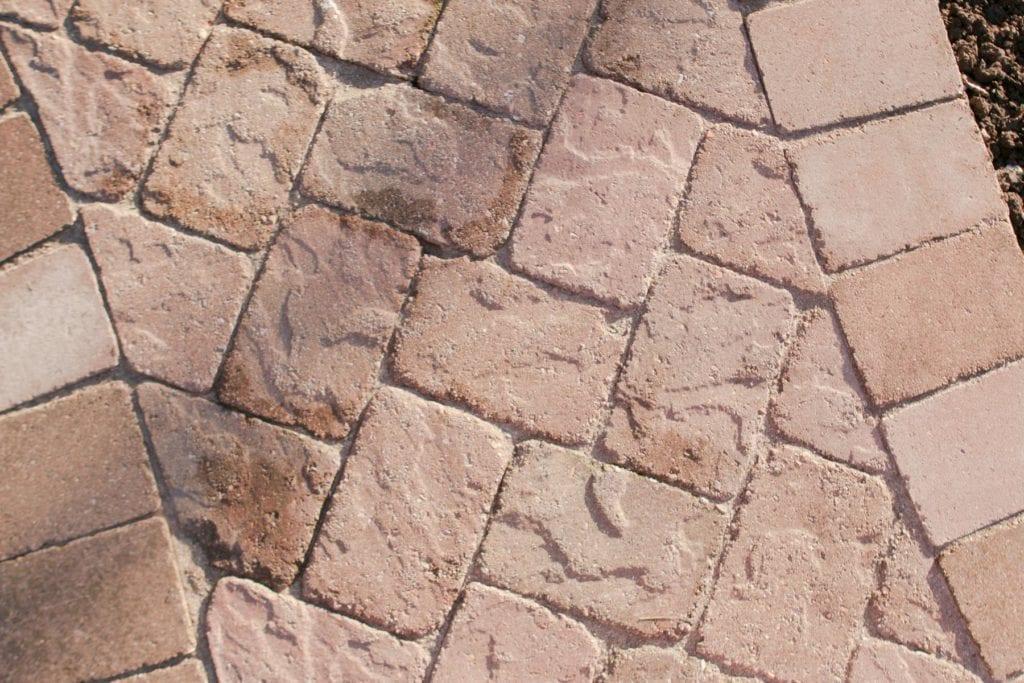 upcycled patio stones on walkway