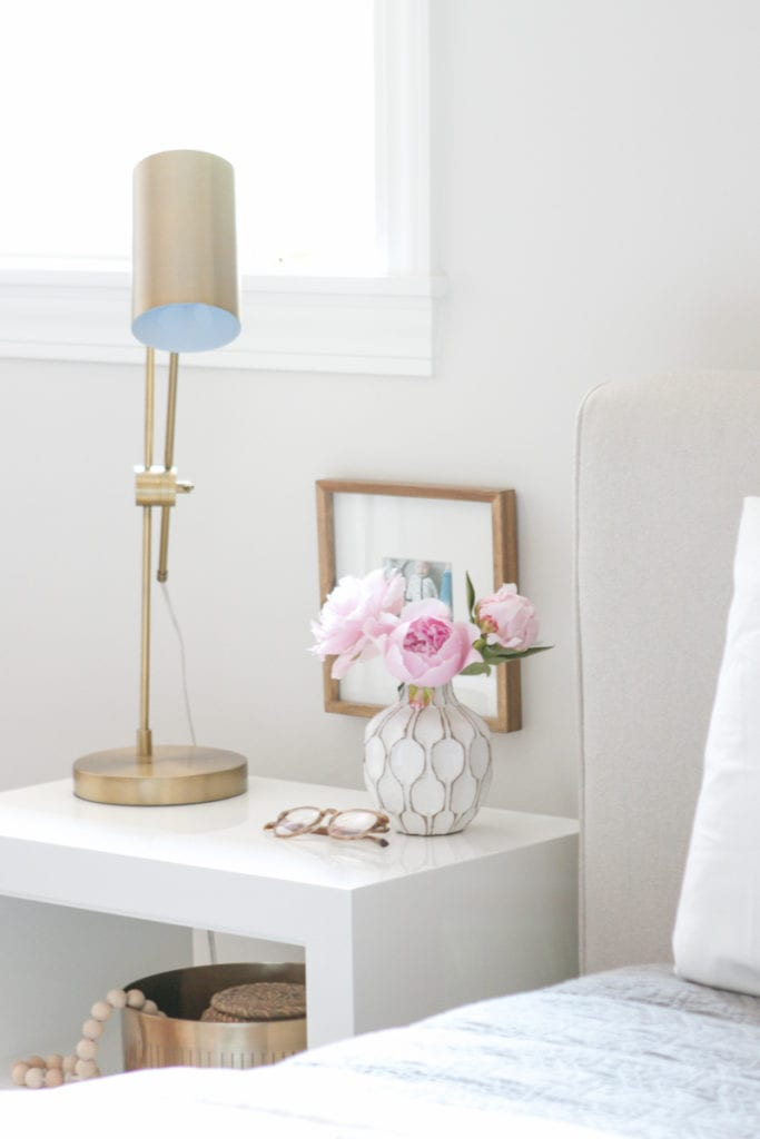 nightstand with flowers