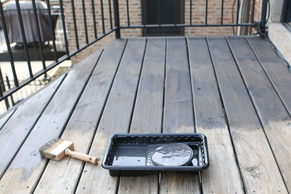 Staining a patio deck a dark gray color