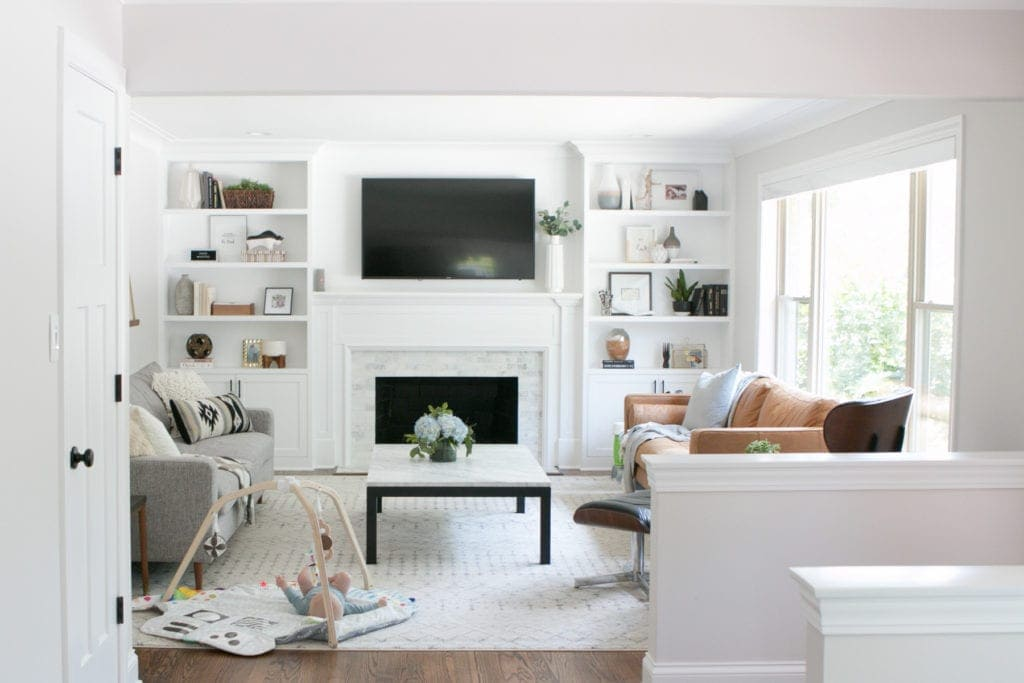 White and gray family room