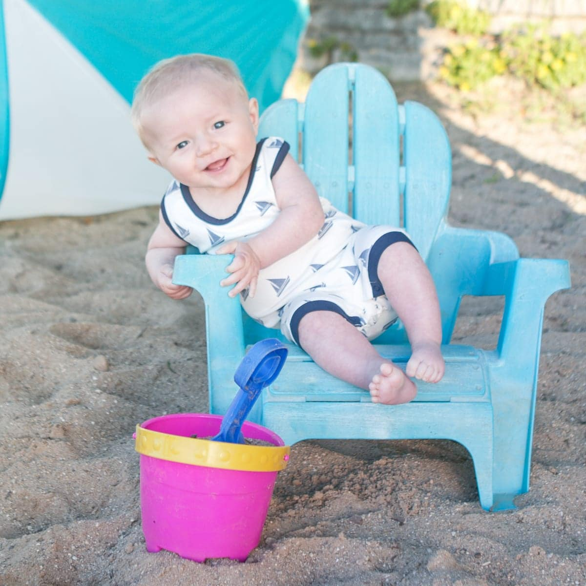 Baby photo in patio chair
